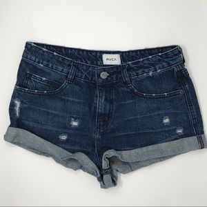 RVCA Distressed Slouch Low Rise Shorts Size 27